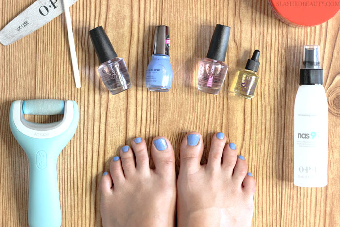 Go from rough feet to a date-ready pedi with this DIY pedicure tutorial that's easy and more affordable than the salon. | Slashed Beauty