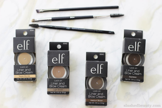 Review E L F Lock On Liner Amp Brow Cream Slashed Beauty
