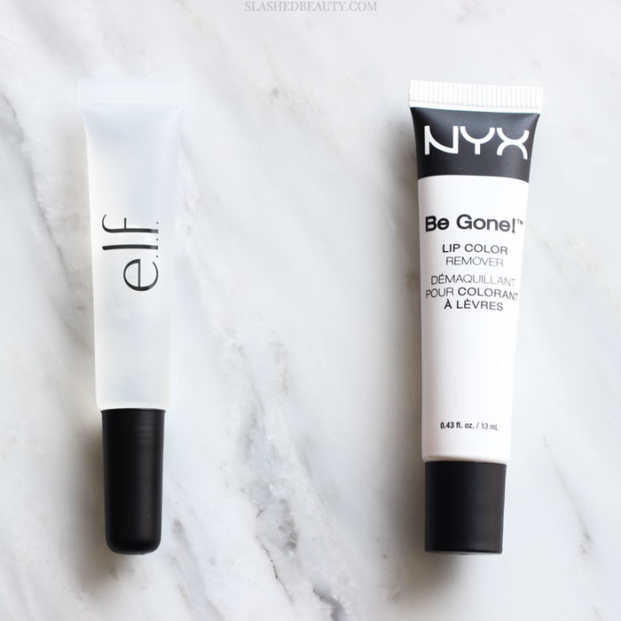 How do you remove liquid lipstick? See how the NYX and e.l.f. Lip Color Removers compare to each other to choose the right one. | Slashed Beauty