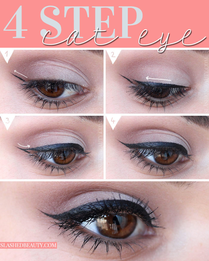 Creating a cat eye liner makeup look takes practice, but you can get it down in only 4 steps. See how to do it yourself! | Slashed Beauty